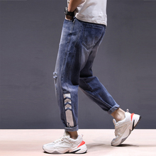 Fashion Streetwear Men Jeans Loose Fit Big Size 28-42 Blue Color Harem Pants Ripped Jeans Men Printed Designer Hip Hop Jeans harem elastic 27 42 size quality 2017 spring new arrival ripped jeans for men fashion brand men jeans slim fit jeans men jc67