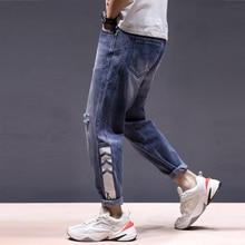 Fashion Streetwear Men Jeans Loose Fit Big Size 28-42 Blue Color Harem Pants Ripped Printed Designer Hip Hop