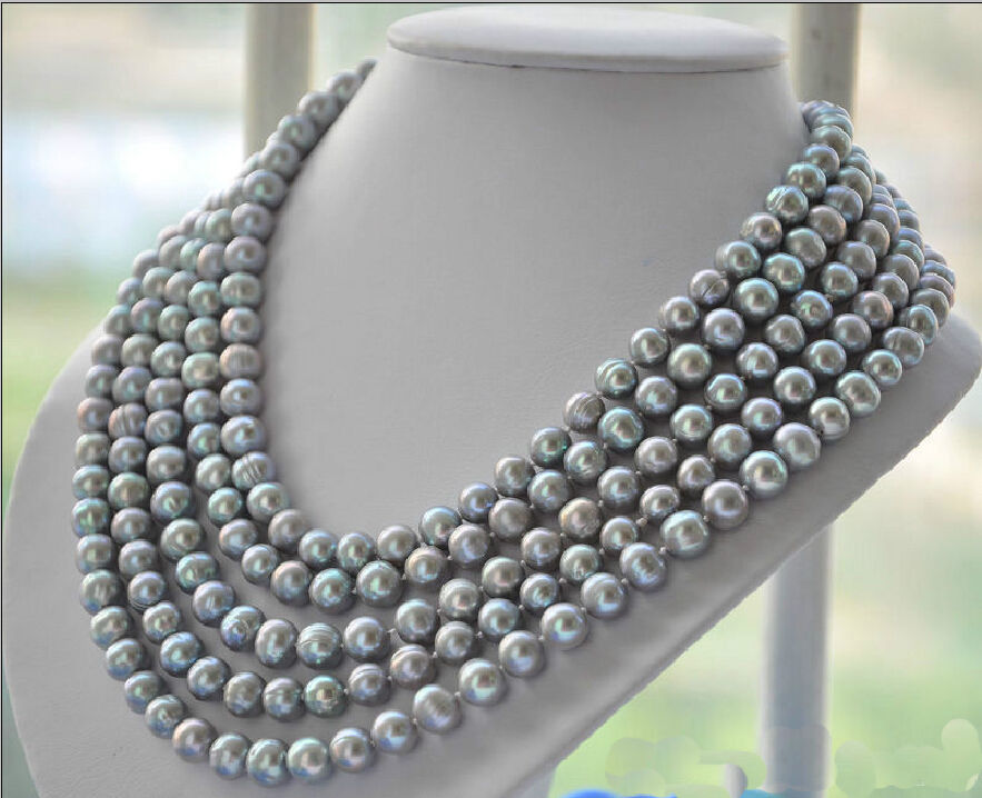 Free Shipping 003527 natural tahitian silver gray baroque pearl necklace 100Free Shipping 003527 natural tahitian silver gray baroque pearl necklace 100