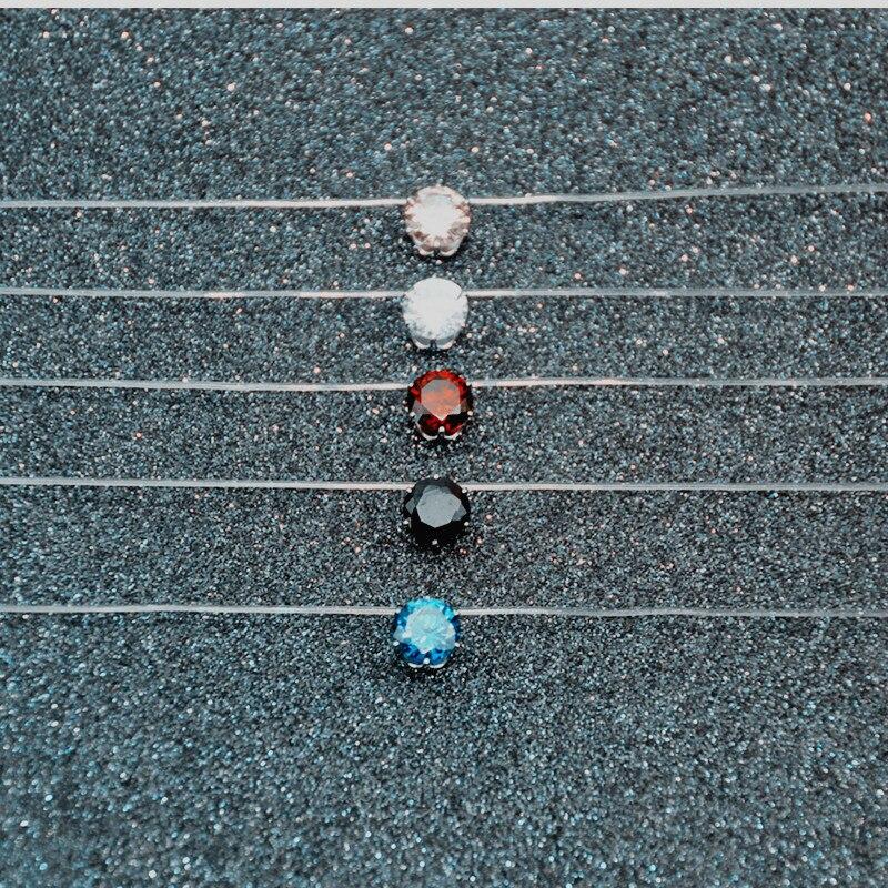 Прозрачный Рыбалка линии Цепочки и ожерелья ключицы цепи Кристалл Короткие Цепочки и ожерелья красочные Для женщин Мода Подвески Jewelry x232