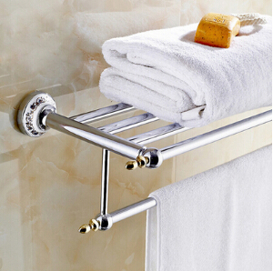 High Quality Bathroom towel holder with Ceramic Base, Brass towel rack,60cm towel shelf heavy bullet head bobbin holder with ceramic tube tip protecting lines brass copper material