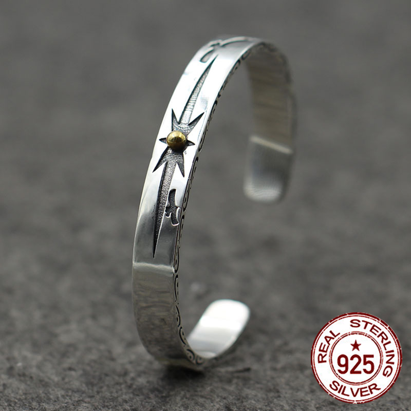 925 sterling silver open bracelet personalized retro fashion sun gold-style high-end carved simple bracelet to send a gift love925 sterling silver open bracelet personalized retro fashion sun gold-style high-end carved simple bracelet to send a gift love