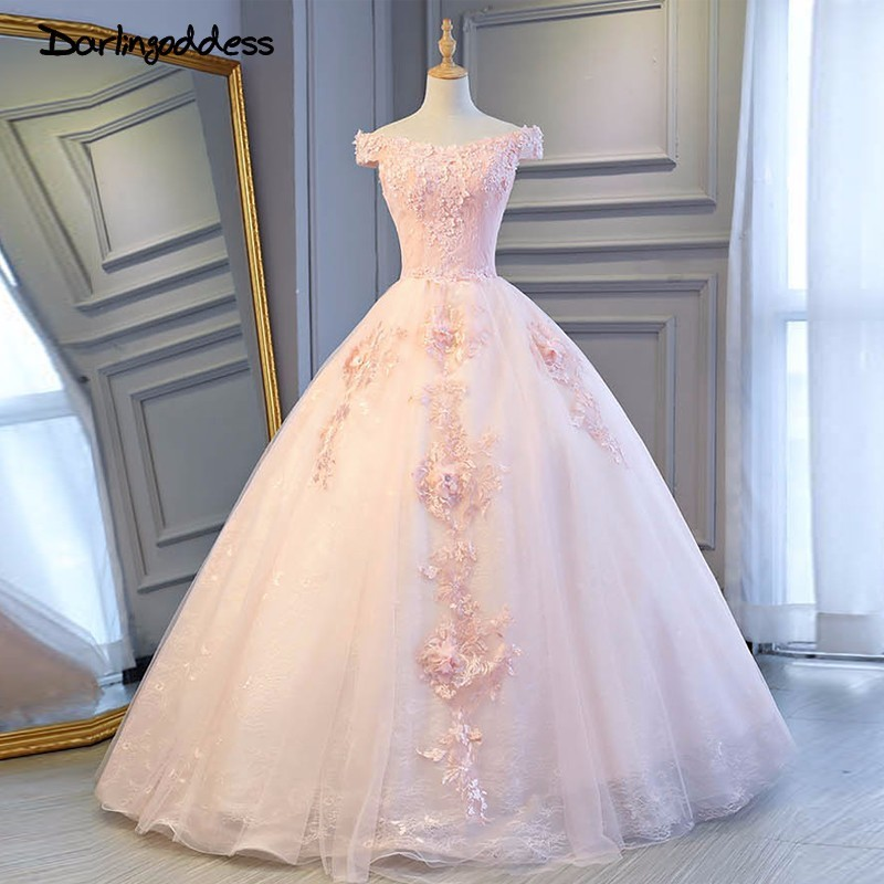 Darlingoddess Vestido de Noiva Real Picture Luxury Wedding Dresses 2018 Pink Short Sleeve Appliques Corset Princess Wedding Gown