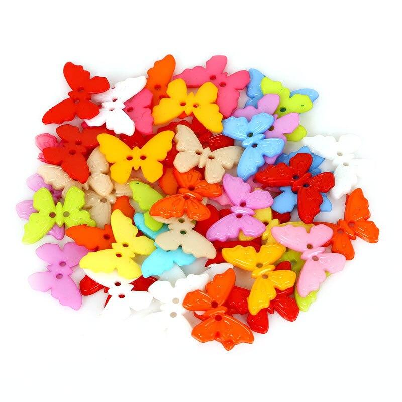 23×17 мм Швейные 50 шт./лот смешанных 2-отверстия Смола бабочки кнопки аксессуары для скрапбукинга DIY домашняя одежда