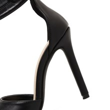 DEleventh New Hot Brand Design Sexy Women Stiletto High Heels Peep Toe Buckle Strap Party Dress Wedding Sandals Shoes Red Black