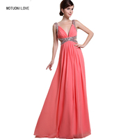 Real Photo Fashion Women Long Evening Dress 2019 Sexy Evening Gown Sequin V Neck Hollow Waist Coral Prom Party Dress Robe Longue