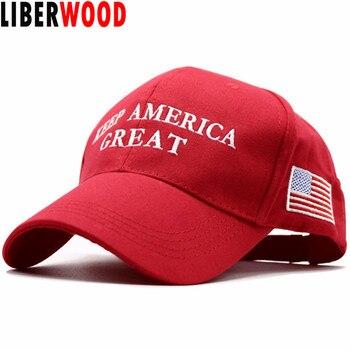 LIBERWOOD 2020 Donald Trump czerwony kapelusz ponowny wybór zachowaj amerykę wielki haft USA flaga MAGA nowa czapka bawełniana czapka bejsbolówka