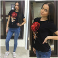 2017 Brand New Summer t shirt female white black ladies 3d rose flower sequin tops t-shirt for women camisetas mujer