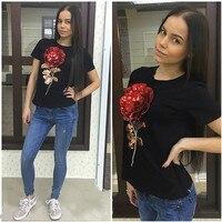 Jojo 2016 Brand New Summer t shirt female white black ladies 3d rose flower sequin tops t-shirt for women camisetas mujer