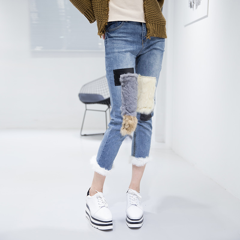 SuperAen Autumn and Winter Jeans 2017 New Stitching Harajuku Jeans Women High Waist Fashion Wild Cotton Pencil Pants Women Jeans autumn and winter boys pants 2015 new winter fashion star patch with good taste three oxford cashmere waist jeans code