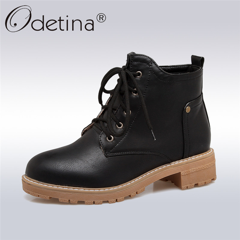 Odetina 2017 Fashion Womens Low Heel Lace Up Ankle Boots Round Toe Martin Boots Female Platform Autumn Winter Shoes Big Size 43 odetina fashion genuine leather ankle boots flat woman round toe platform lace up boots autumn winter casual shoes big size 43
