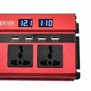 Image 4 - 2000 W سيارة العاكس المزدوج LCD الجهد عرض 12 v إلى 110 v عاكس الطاقة 4 شاحن يو اس بي السيارات عاكس الطاقة المزدوج AC المقابس