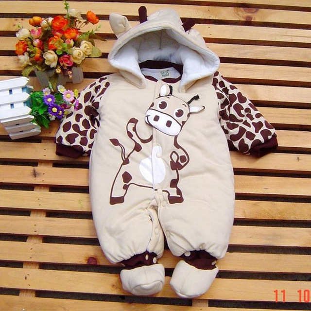 865e06c09 Cute Cow Baby Boy Overall Footsies Winter Romper Children s Clothing ...