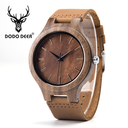 DODO DEER Wooden Male Watch Promotion Leather Private Custom Logo Wood Watches Men Quartz horloges mannen