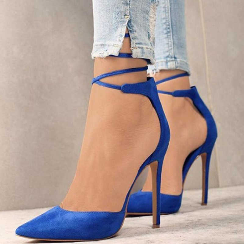8b961cd4c3 ... High heels shoes women sexy stiletto ankle strap black sandals fashion  pointed toe party pumps ladies ...