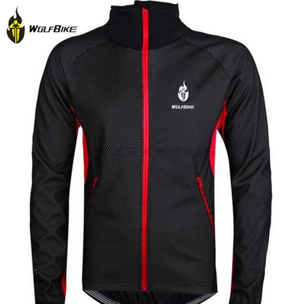 WOLFBIKE Men Fleece Thermal Winter Wind Cycling Jacket Windproof Bike Bycle Coat Clothing Long Sleeve Jersey black with red men fleece thermal autumn winter windproof cycling jacket bike bicycle casual coat clothing warm long sleeve cycling jersey set