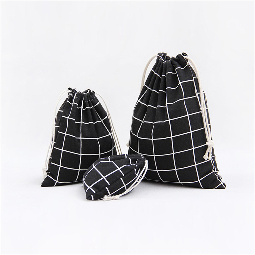 Dropship 3pcs/set Simple Grid Cotton Linen Fabric Dust Bag Drawstring Bags Shoes Bag Travel Accessories 3Colors