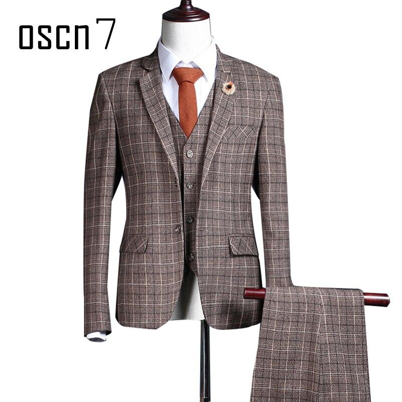 OSCN7 Plaid Brown 3 Pcs Suit Men 2017 Leisure Ternos Masculinos Slim Fit Wedding Dress Suits for Men Costume Homme