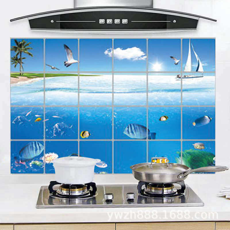 Waterproof Bathroom Tile Aluminum Foil Wall Sticker Home Decor Wall Sticker Dolphin Fish Beach Ocean Shell Sailing Drinks Flower Wall Stickers Aliexpress