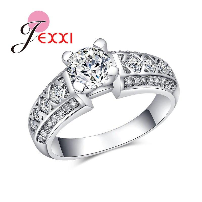 JEXXI Полный Ясно CZ Обручение кольца для Для женщин модные свадебные украшения Серебро 925 Свадебные Юбилей полосы Promise Ring