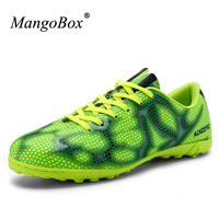 2016 Men Boy Kids Soccer Cleats Turf Football Soccer Shoes Leather Artificial Turf Shoes Green Gold