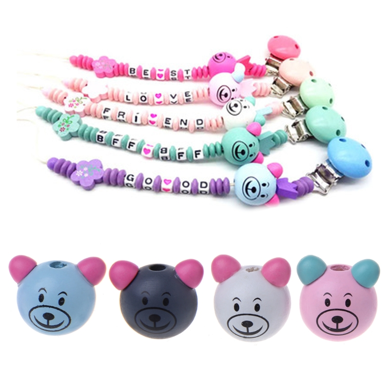 10pcs 25MM Wooden Bear Head Teething Chew Beads For Baby DIY Pacifier Chain Baby Nipple Feeding