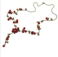 N036 ,NewFashion Vintage Red Cherry Sweet Necklace Sweater Chains4241