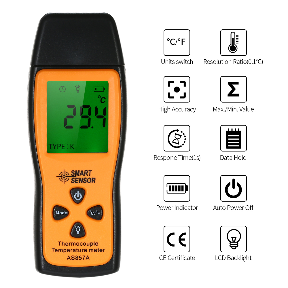 SMART SENSOR Mini K type Thermometer LCD Digital Handheld Temperature Meter with K Type Thermocouple Sensor in Temperature Instruments from Tools