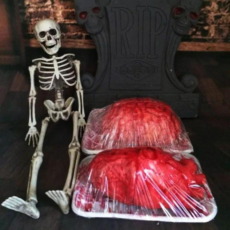 1PC Prop Rubber Horror Fake Scary Human Brain Haunted House Organ Body Horror Prop Decor Gag Toys Part Halloween Decoration #W