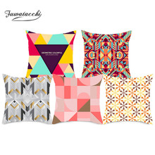 Fuwatacchi Red Geometric Cushion Covers Plaid Square Pillow Cases Striped Pillow Covers Bedroom Sofa Soft Throw Pillows 45x45cm цены
