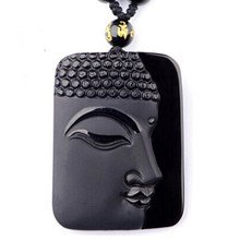 Obsidian Black Buddha Head Pendant For women&men Jewelry(China)