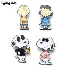 Flyingbee Cartoon Dog Cute Puppy Enamel Pin Brooch Clothes Pins Badges for Denim Blouse Tie Jewelry X0155