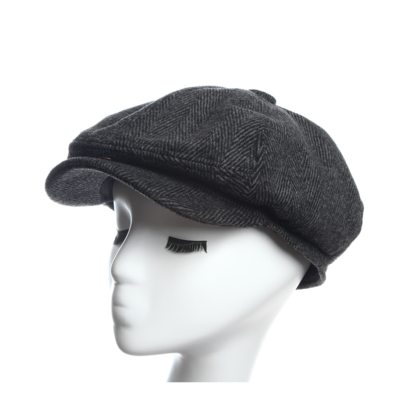 Newsboy Caps Herringbone Tweed Warm Winter Octagonal Hat Male Female Gatsby Retro Flat Hats for women