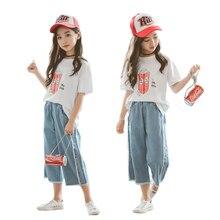 Летние комплекты для девочек, детская одежда для девочек-подростков 8, 10, 12 лет, Детский костюм, хлопковая Футболка с героями мультфильмов + джинсы