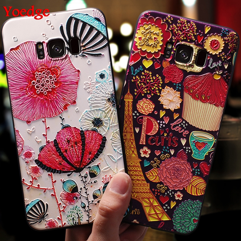 Floral Case For Coque Samsung Galaxy S8 S9 S10 Plus S10e S6 S7 Edge M10 M20 M30 A30 A40 A50 Note 8 9 A9 A7 2018 TPU Relief Cover