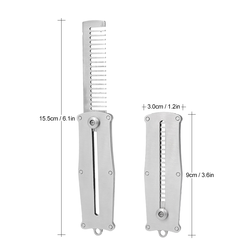 Stainless Steel Portable Men's Beard Comb Male Mustache Shaving Brush Pocket Comb Facial Hair Beard Man shaped Brush Tool 5