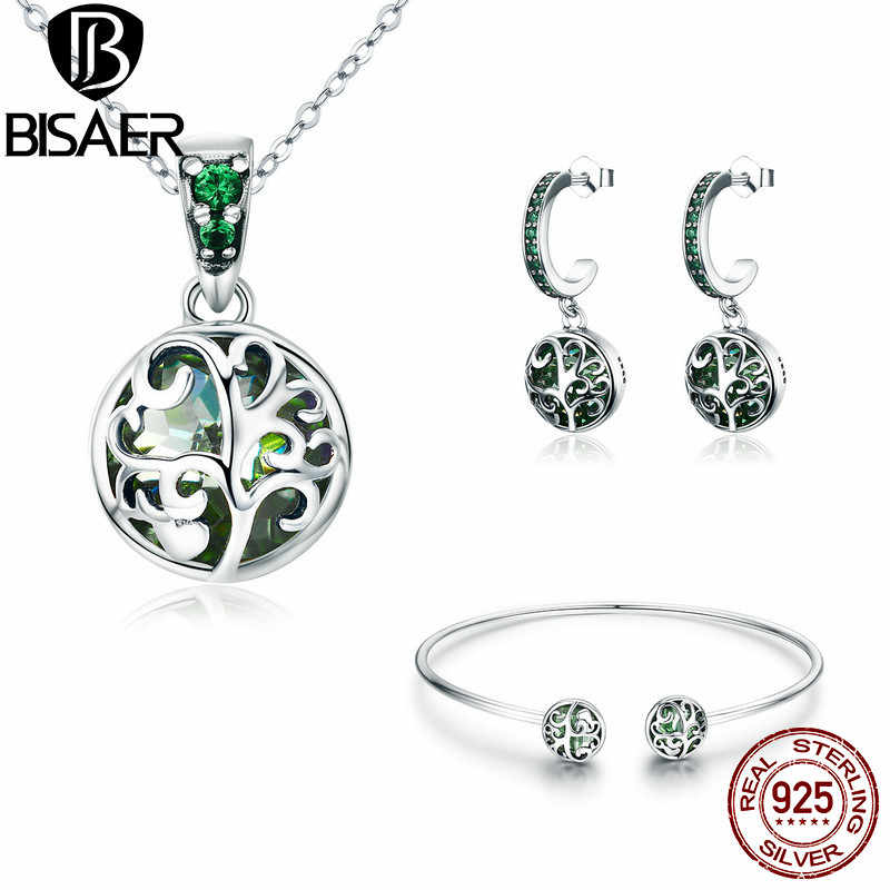 BISAER Silver Women Jewelry Set 925 Sterling Silver Plant Tree Leaves Leaf Bracelet Necklace Jewelry Sets Fashion Jewelry Set