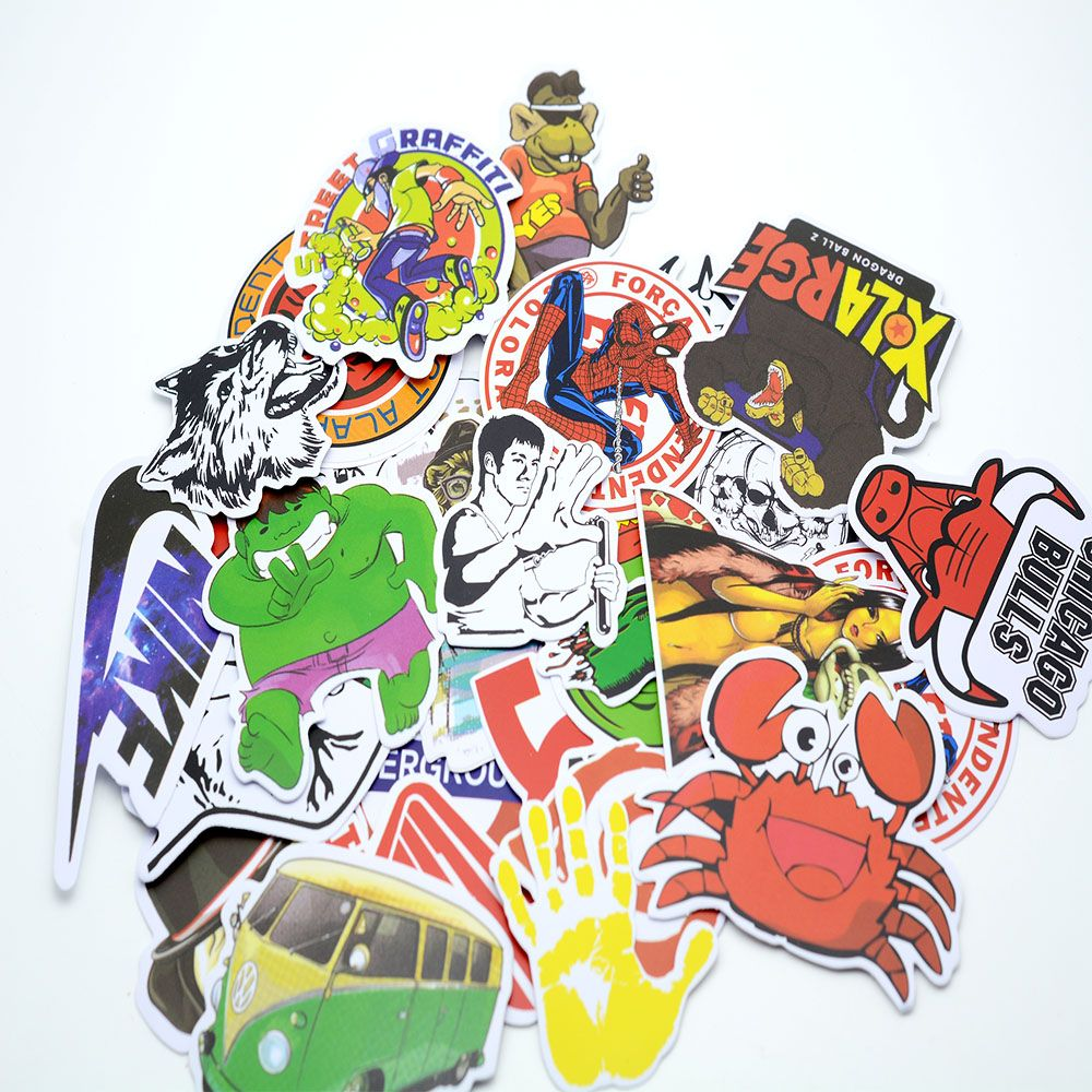 50 pcs/pack Classic Fashion Style Graffiti Stickers For Moto car & suitcase Luggage stickers Skateboard Travel Accessories