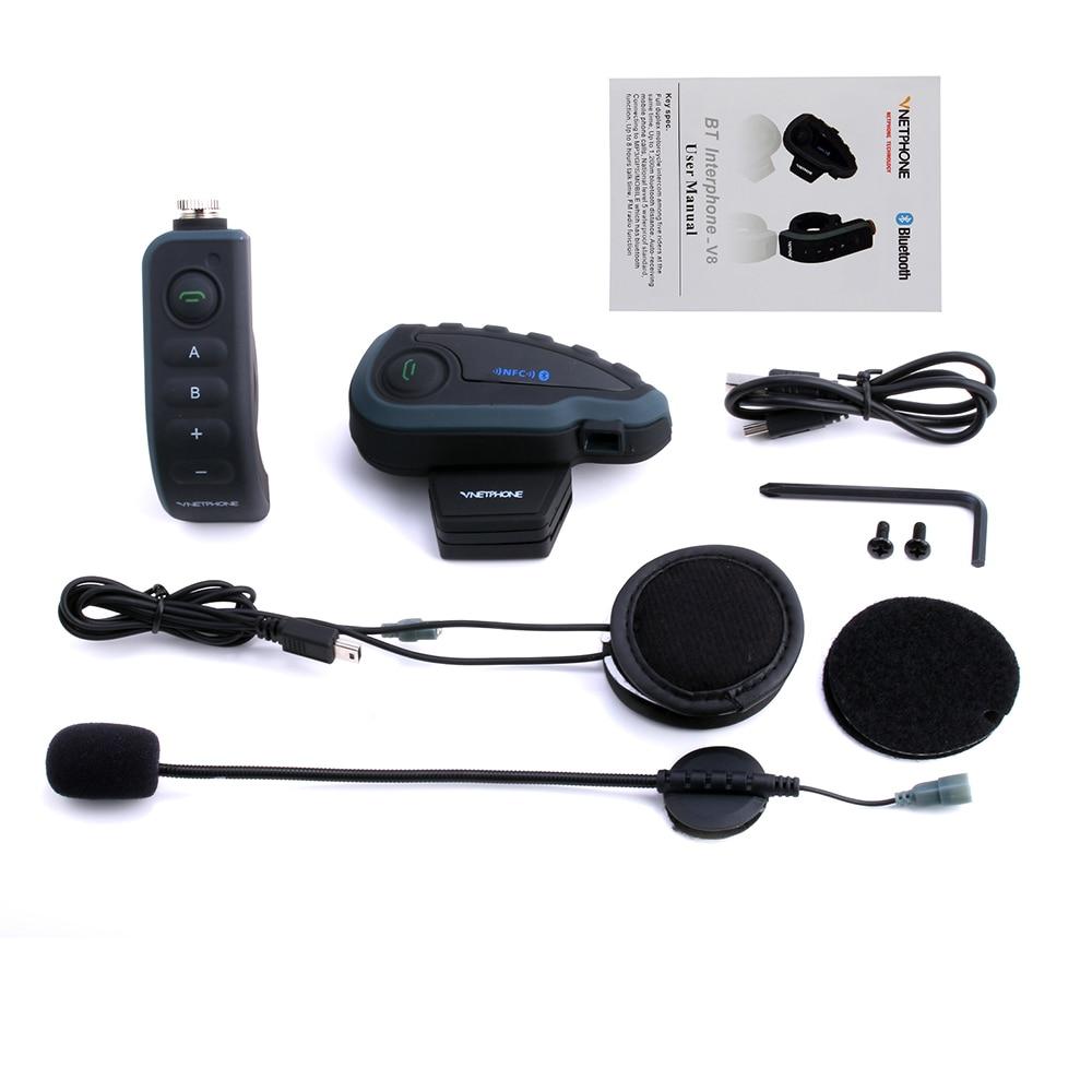 VNETPHONE Helmet Headset Motorcycle Intercom 1200m Helmet Bluetooth Interphone full-duplex 5 people at the same time intercom V8