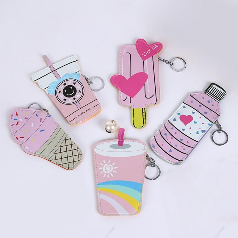 2018 Women Coin Purses Holders And Handbags Cute Icecream Bottle Leather Pouch Kawaii Children Wallet Small Keys Bag Carteira
