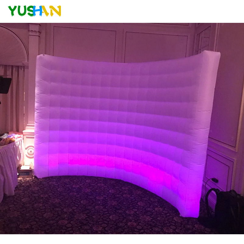 3m White Inflatable Photo booth wall Backdrop stand photography use inflatable led wall light with Inner air Blower For Parties