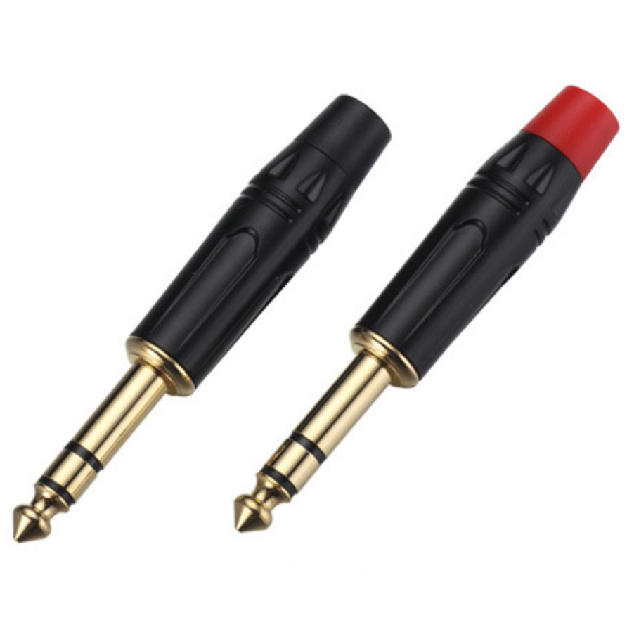 100pcs lot 6 35 Male Straight TRS 1 4 6 35mm Stereo Plug with Gold plating