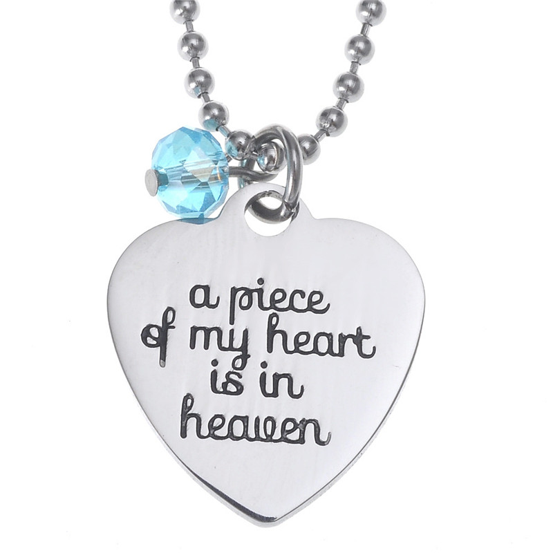 A pieces of my heart is in heaven Engraved Letters Heart Pendant Necklace with Stainless Steel Beaded Chain