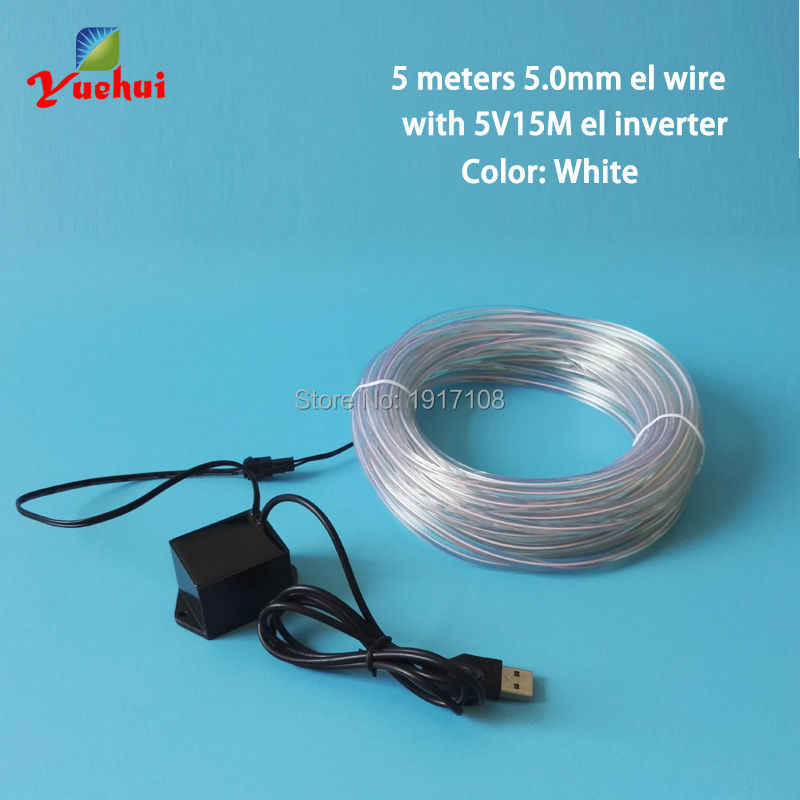 5V USB 10 Colors available 5M 5.0mm White House Party decorative Crazy EL Wire neon Glow wire LED thread Neon Light rope tube