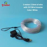 5 V USB 10 Couleurs disponibles 5 M 5.0mm Blanc Fête à La Maison décoratif fou EL Fil neon Glow fil LED fil Neon Light corde tube