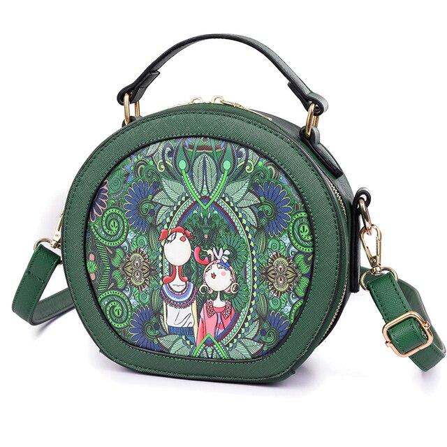 a2dd9f9f7387 US $27.99  Wulekue PU Forest Green Circular Crossbody bags Girl Handbag  Women Shoulder As Gift For ladies Feminine Female Party Women Bags-in  Shoulder ...