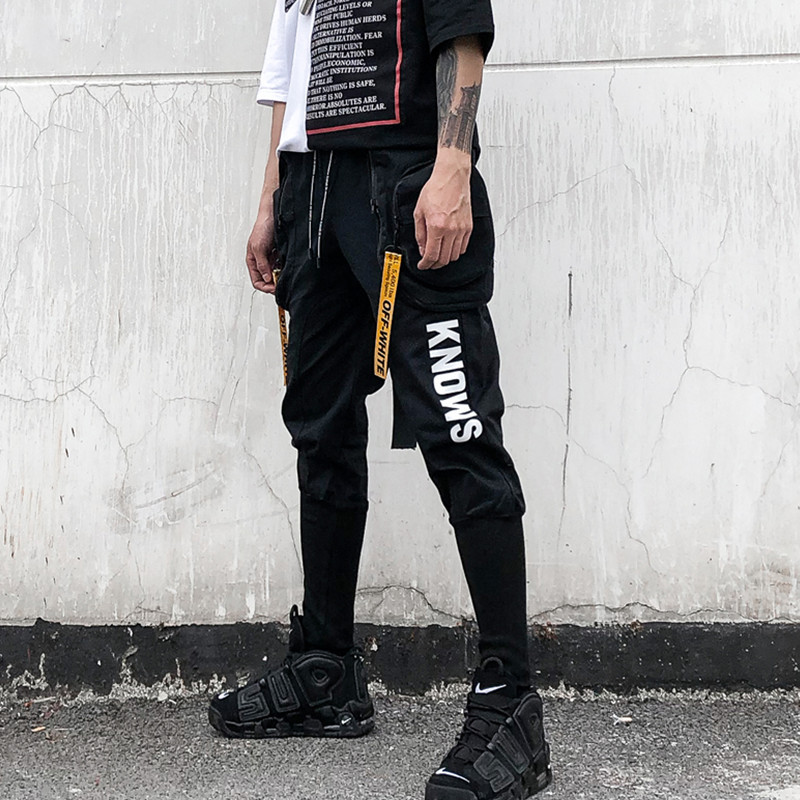 Spring Summer Hip Hop Joggers Cargo Harem Pants Men Long Big Pockets Zippers White Black Trousers
