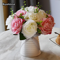 Kyunovia Artificial Silk Rose Ceramics vase With Flower Bouquet Set for Desk Office Home Wedding Flowers Decoration KY65