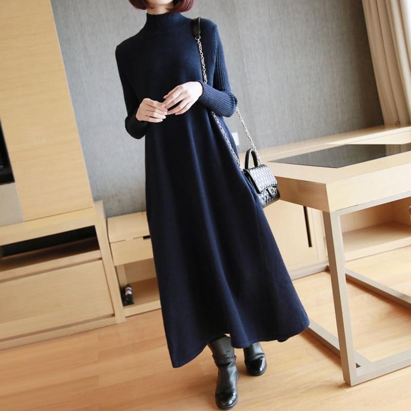 LANMREM 2018 New Vintage Turtleneck Knitting Full Sleeve Women Dress Fashion Hot Sale Long Section Loose