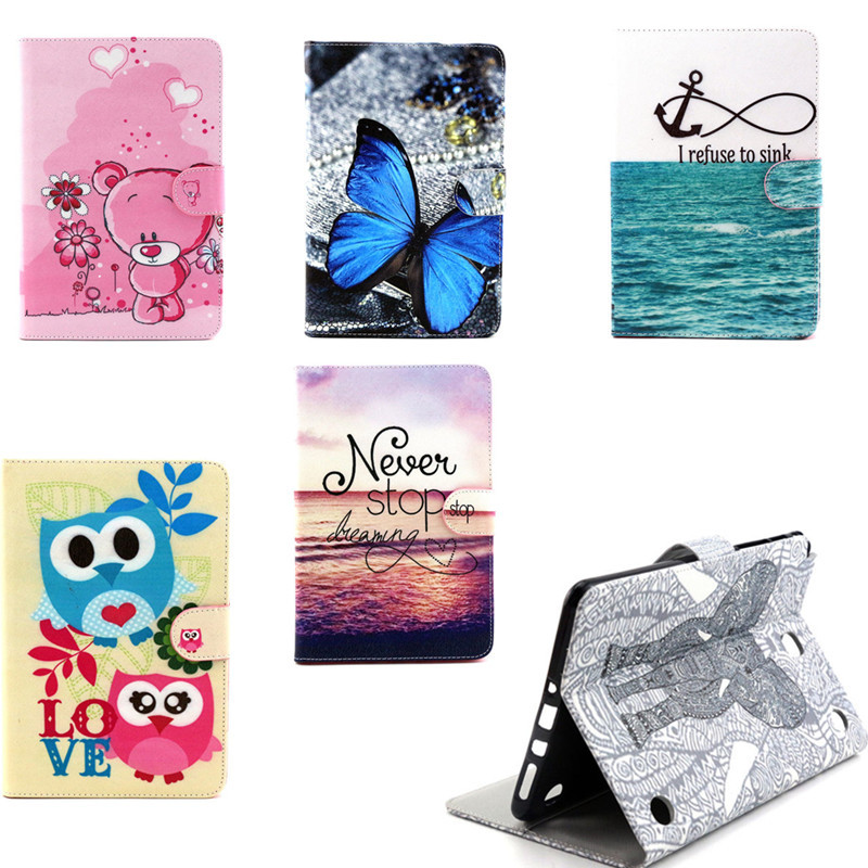 YH Vintage Cute OWI Design Book  Flip PU Leather Stand Case Cover For Samsung Galaxy Tab A 9.7 inch T550 T555 SM-T555  Tablet wefor cover silicon leather case for samsung galaxy tab a 9 7 sm t550 t555 flip book style stand w card holder [painting]